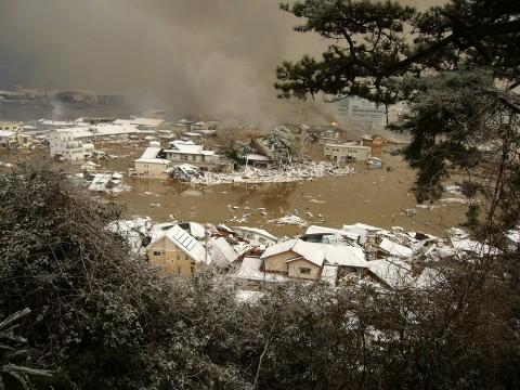大津波と火災で壊滅した石巻門脇地区
